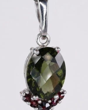 Faceted Moldavite with Garnets Sterling Silver Pendant (2.5grams)