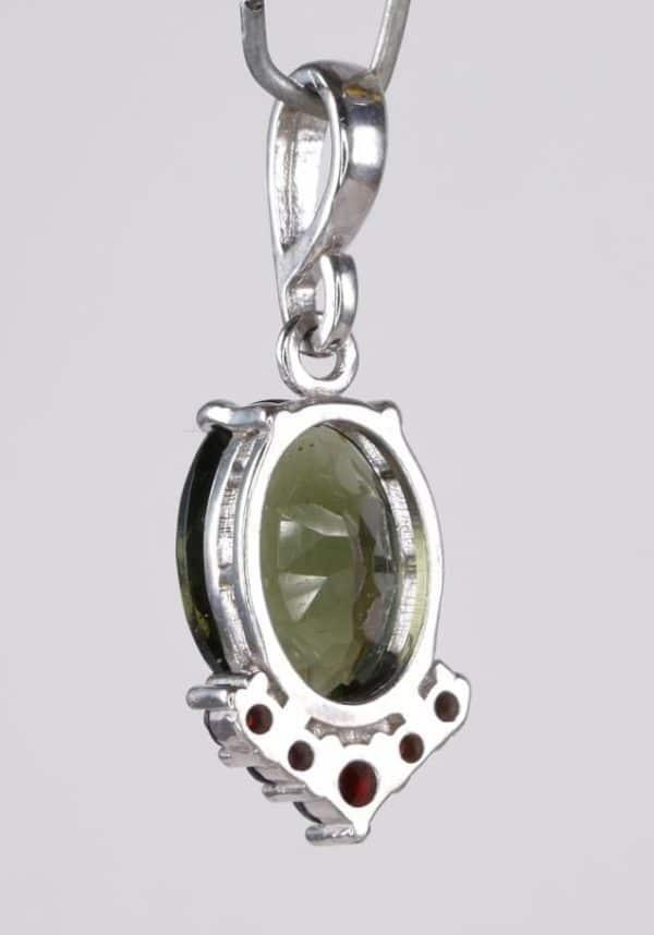 Faceted Moldavite with Garnets Sterling Silver Pendant (2.5grams)