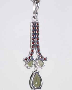 Faceted Moldavite Pear Cut With Garnets Sterling Silver Pendant (4.1gram)