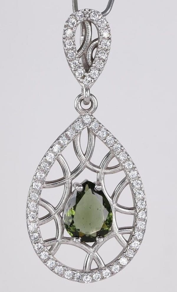 Exclusive Moldavite Faceted Pear Cut With Zirconia Pendant (4.8grams)