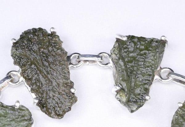 Unique Moldavite Sterling Silver Adjustable Bracelet (19.1gram)