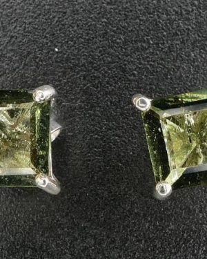Moldavite Square Faceted Sterling Silver Stud Earrings (1.1gram)