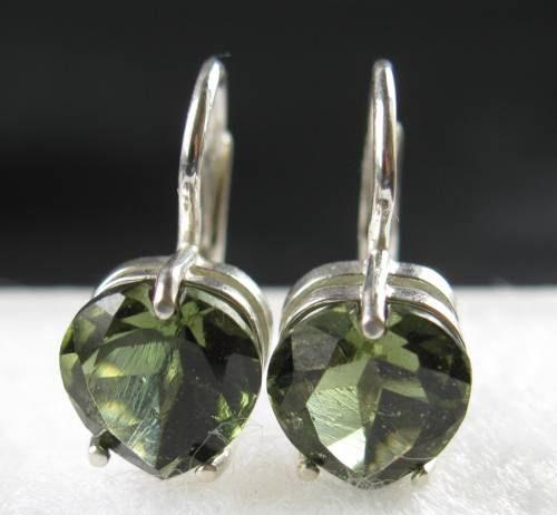 Authentic Heart Shape Faceted Moldavite Earrings (2.1grams) 1