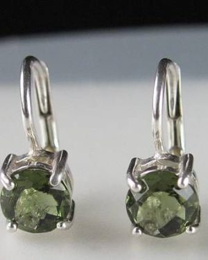 High Quality Moldavite Round Sterling Silver Earrings (1.60grams) 1