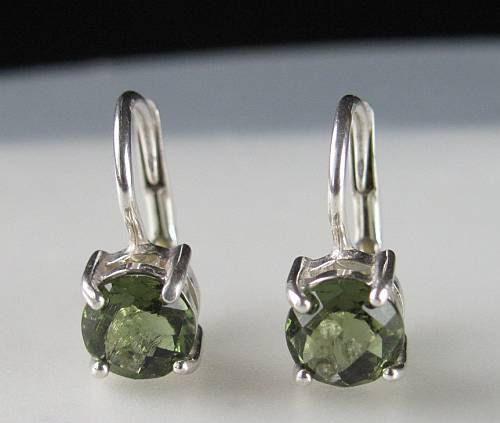 High Quality Moldavite Round Sterling Silver Earrings (1.60grams) 1