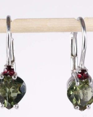 Heart Shape High Quality Grade Faceted Moldavite Earrings (1.6grams) 1
