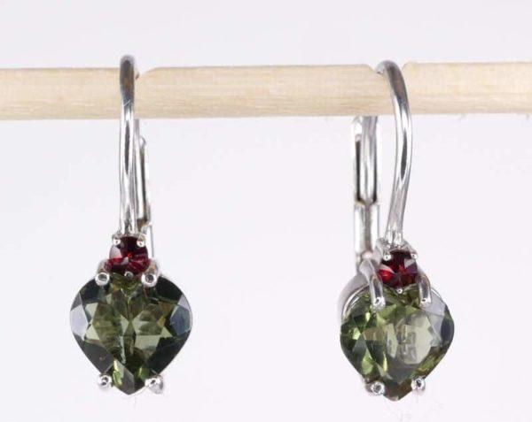 Heart Shape High Quality Grade Faceted Moldavite Earrings (1.6grams) 1