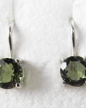 Excellent Round Shape Moldavite Earrings with Certificate of Authenticity (1.3grams) 1