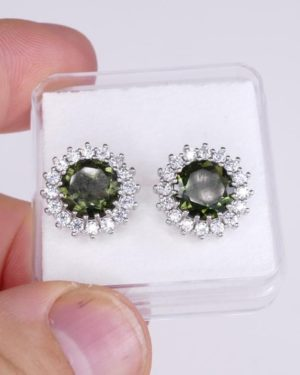 High Quality Faceted Moldavite with Cubic Zirconia Earrings (4.3grams) 1