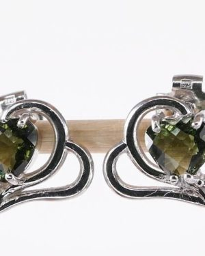 Heart Shape Cut Faceted Moldavite Earrings (2.1grams) 1