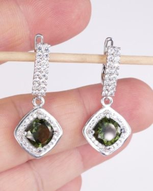 Moldavite with Mutiple Cubic Zirconia Earrings (6.1grams) 1