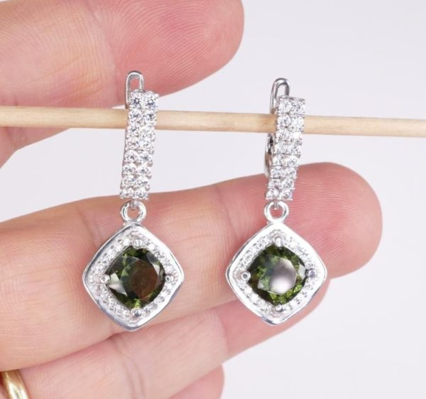 Moldavite with Mutiple Cubic Zirconia Earrings (6.1grams) 1