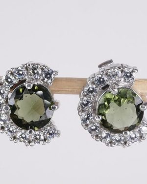 Dazzling Cubic Zirconia Round Faceted Moldavite Earrings (4.5grams) 1