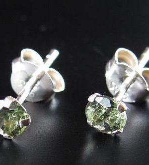 Round Moldavite Earrings (0.30gram) 1