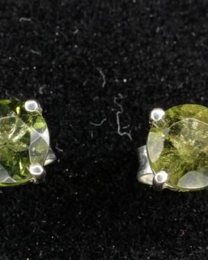 Round Stud Earrings Faceted Moldavite (0.7gram) 1
