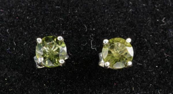 Round Stud Earrings Faceted Moldavite (0.7gram) 1