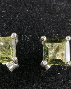 Square Stud Earrings Faceted Moldavite (0.9gram) 1