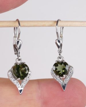 Beauty In Heart Shape Faceted Moldavite With Cubic Zirconia Earrings (3.1grams) 1