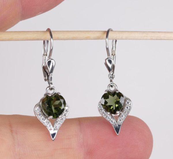 Beauty In Heart Shape Faceted Moldavite With Cubic Zirconia Earrings (3.1grams) 1