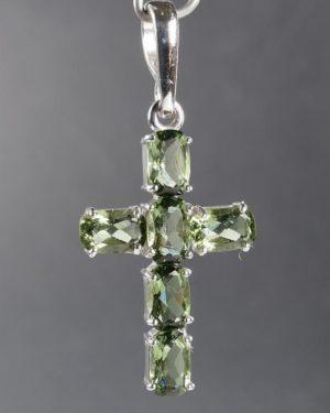 Cross Faceted Moldavite Silver Pendant (2.4grams) 1