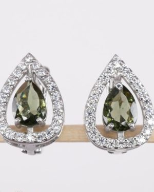 High Quality Facted Moldavite With Cubic Zirconia (Pear Cut) Earrings (3.9grams) 1