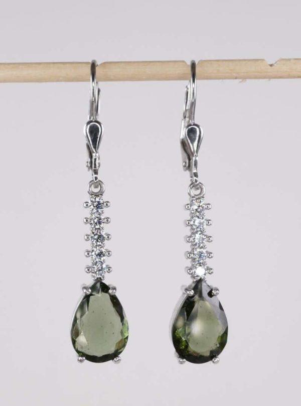 Elegant Faceted Moldavite With Cubic Zirconia Earrings (3.8grams) 1