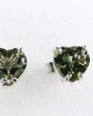 High Quality Heart Shape Moldavite Faceted Stud Earrings (1.0gram) 1