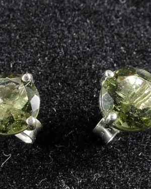 Perfect Round High Quality Moldavite Faceted Stud Earrings (1.0gram) 1