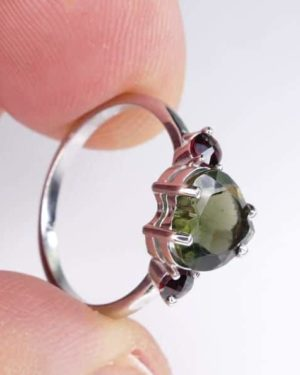 High Quality Faceted Moldavite Heart Shape Ring With Red Zircon (1.9grams) Ring Size: 55 (7.5 US) 1
