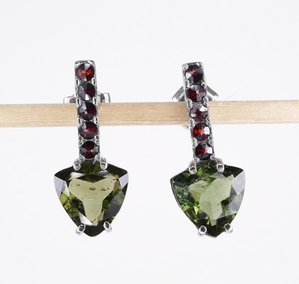 High Quality Moldavite with Elegant Red Garnets Sterling Silver Earrings (2.3grams) 1