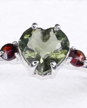Heart Shape Faceted Moldavite Ring (1.9grams) Ring Size: 58 (8.5 US) 1