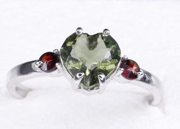 Heart Shape Faceted Moldavite Ring (1.9grams) Ring Size: 58 (8.5 US) 1