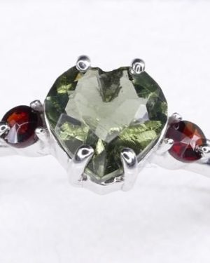 Heart Shape Faceted Moldavite Ring (1.9grams) Ring Size: 56 (7.75 US) 1