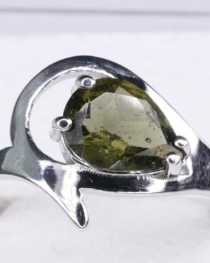 Unique Faceted Moldavite Ring (2.2grams) Ring Size: 55 (7.5 US) 1