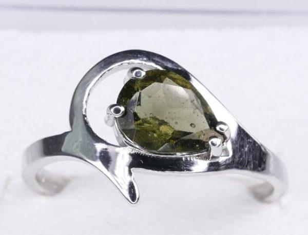Unique Faceted Moldavite Ring (2.2grams) Ring Size: 55 (7.5 US) 1