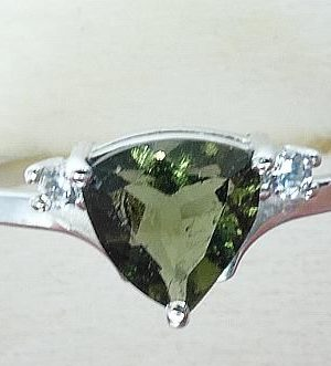 Faceted Moldavite Ring With Zircon (1.9grams) Ring Size: 58 (8.5 US) 1