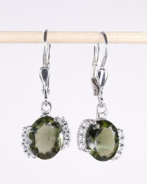 Moldavite Earrings With Cubic Zirconia With Certificate Of Authenticity (3.4grams) 1