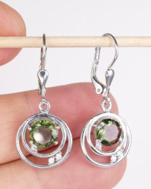 Rare Design With Round Cut Cubic Zirconia - Moldavite Earrings With Certificate Of Authenticity (3.4grams) 1