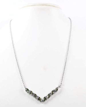 8 Faceted Moldavites Sterling Silver Necklace with Certificate Authenticity (4grams) 1