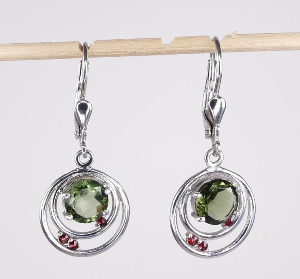 Faceted Moldavite Round Cut Garnet Sterling Silver Earrings with Certificate of Authenticity (3.4grams) 1