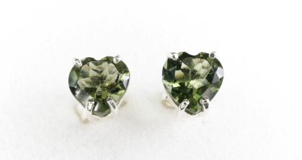 Faceted Moldavite Heart Shape Stud Earrings with Certificate of Authenticity (1.3grams) 1
