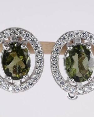 Oval Faceted Moldavite Earrings With Cubic Zirconia with Certificate of Authenticity (4.5grams) 1
