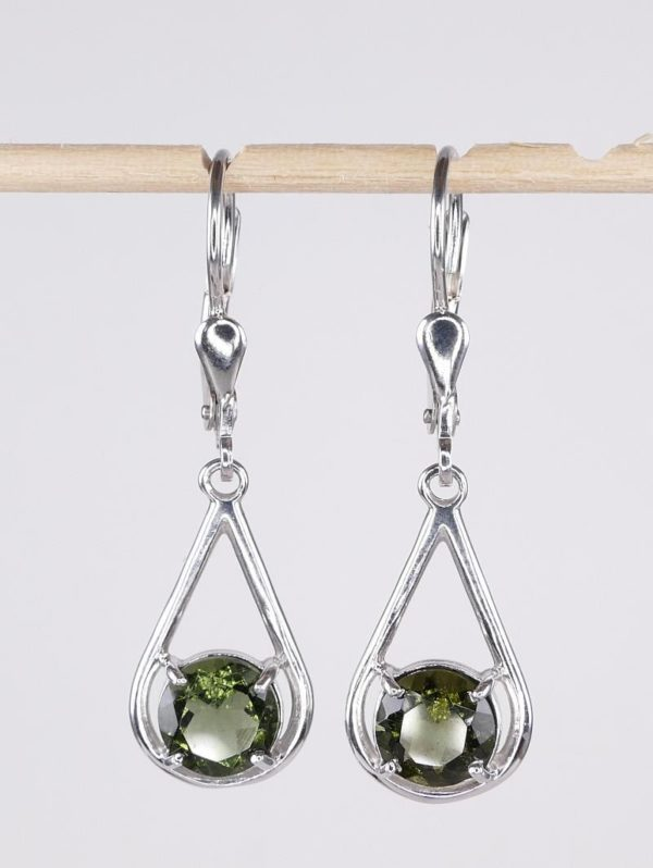 Faceted Moldavite Sterling Silver Round Cut with Certificate of Authenticity (2.5grams) 1