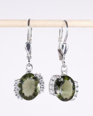 Moldavite Earrings With Cubic Zirconia (3.2grams) 1