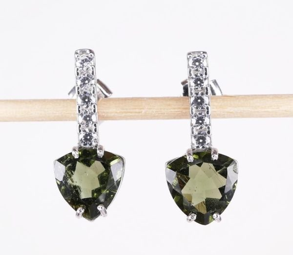 Faceted Moldavite Sterling Silver Earrings With Cubic Zirconia with Certificate of Authenticity (3.1grams) 1