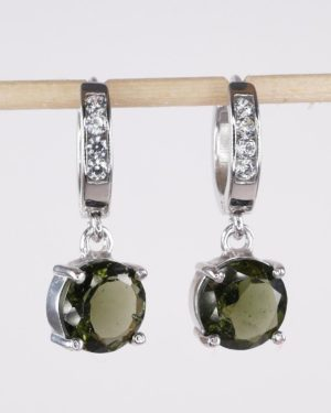 Round Faceted Moldavite With Cubic Zirconia Earrings with Certificate of Authenticity (4.7grams) 1
