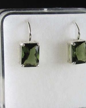 Rectangle Shape Moldavite Faceted Sterling Silver Earrings with Certificate of Authenticity (2.6grams) 1