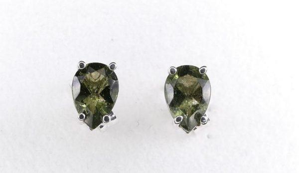 Pear Cut Moldavite Stud Earrings (0.7grams) 1