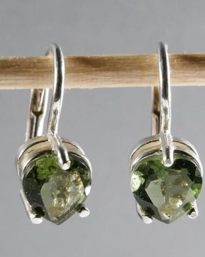 Fine Heart Cut Moldavite Earrings With Certificate Of Authenticity (1.7grams) 11
