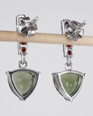 Trill Cut Elegant Design With Garnets - Moldavite Earrings (3.0grams) 2